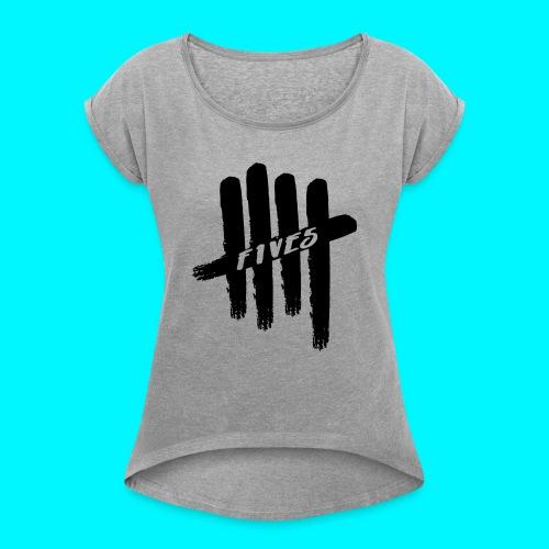 fives black 2 - T-shirt à manches retroussées Femme