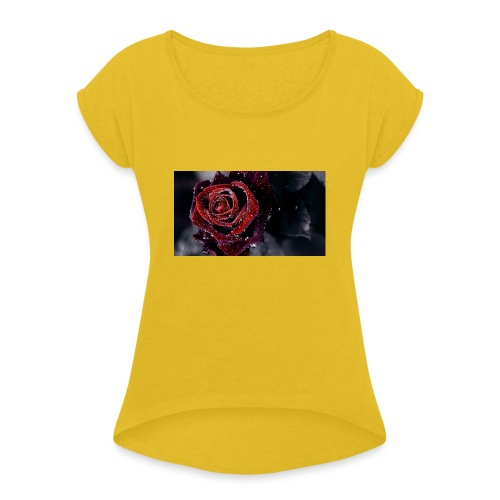 rose tank tops and tshirts - Women's T-Shirt with rolled up sleeves