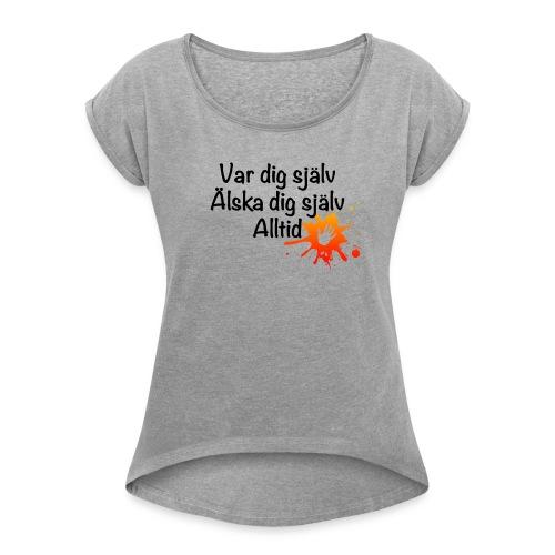 Forever Röd/orange - T-shirt med upprullade ärmar dam