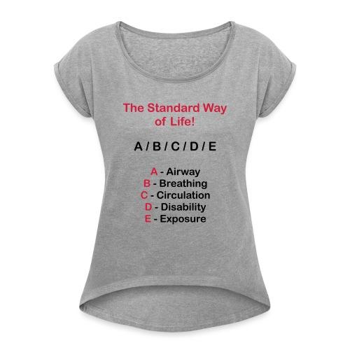 Rettungsdienst ABC Schema - Frauen T-Shirt mit gerollten Ärmeln