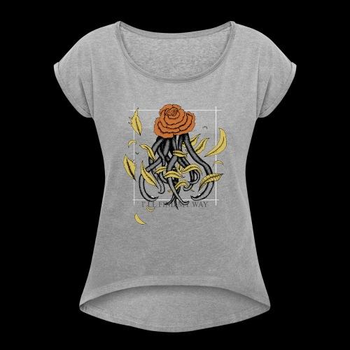 Rose octopus - T-shirt à manches retroussées Femme