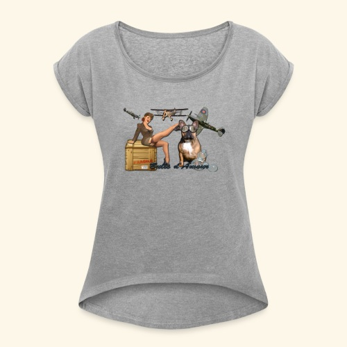Pin Up army bulldog - T-shirt à manches retroussées Femme