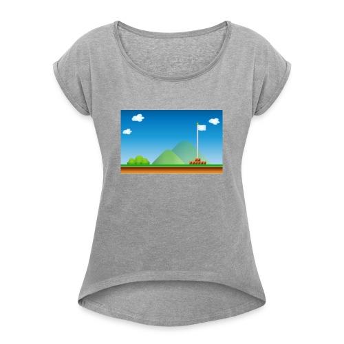 mario game retro style - Frauen T-Shirt mit gerollten Ärmeln