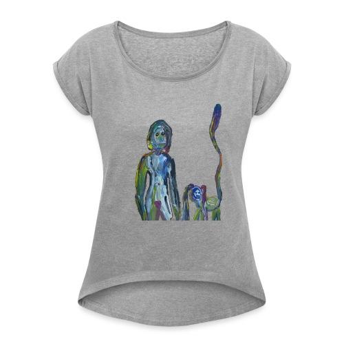 la dame et son animal domestique - T-shirt à manches retroussées Femme