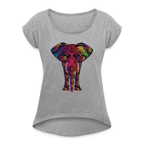 Bunter Elefant - Frauen T-Shirt mit gerollten Ärmeln
