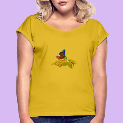 Farfalla su corolla - Maglietta da donna con risvolti