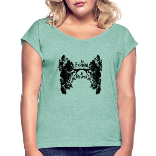 Oxygène - T-shirt à manches retroussées Femme