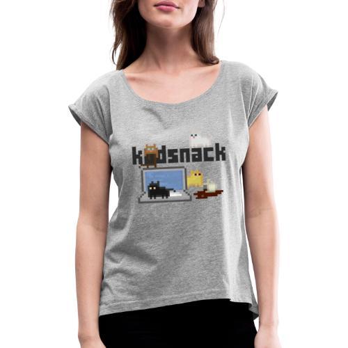 Kodsnack katter - ljus - T-shirt med upprullade ärmar dam