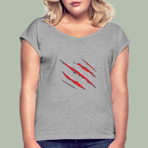 graffio rosso - Maglietta da donna con risvolti