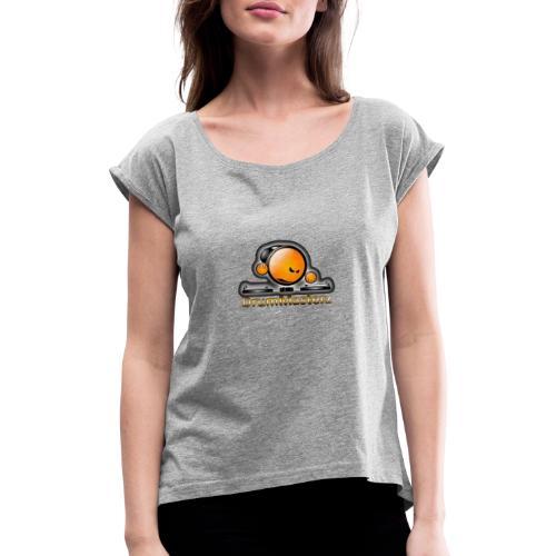 DrumMasterz Logo - Frauen T-Shirt mit gerollten Ärmeln