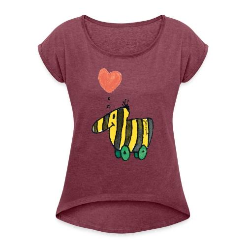 Janoschs Tigerente mit Herz - Frauen T-Shirt mit gerollten Ärmeln
