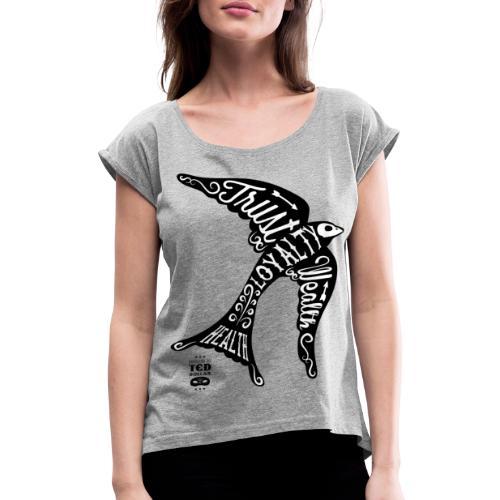 Black Face Swallow - T-shirt à manches retroussées Femme