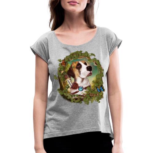 Fantasy Dog - Maglietta da donna con risvolti