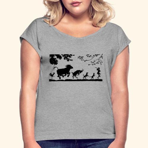 animales caminando - Camiseta con manga enrollada mujer
