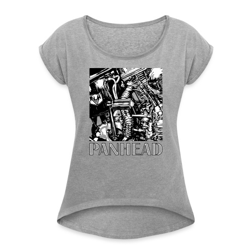 Panhead motordetail 01 - Vrouwen T-shirt met opgerolde mouwen