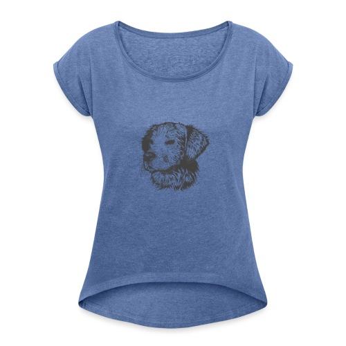 koiran kuva - Naisten T-paita, jossa rullatut hihat
