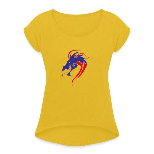 dragon en colère - T-shirt à manches retroussées Femme