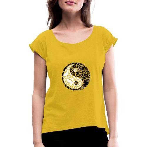 YinYang Cats - Frauen T-Shirt mit gerollten Ärmeln