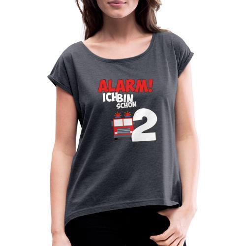 Feuerwehrauto 2. Geburtstag Jungen 2 Jahre - Frauen T-Shirt mit gerollten Ärmeln