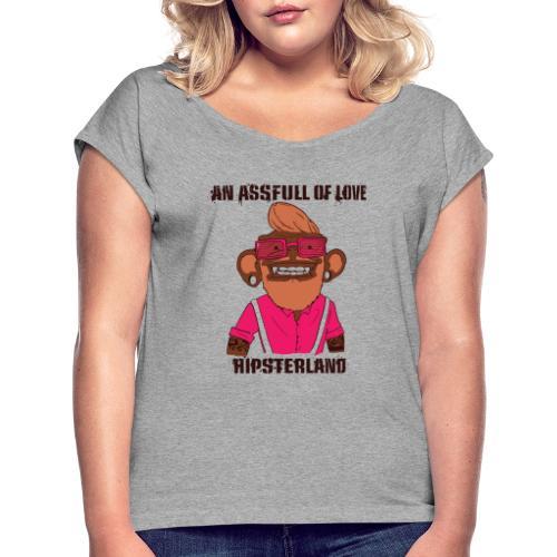 Hipsterland Affe - Frauen T-Shirt mit gerollten Ärmeln