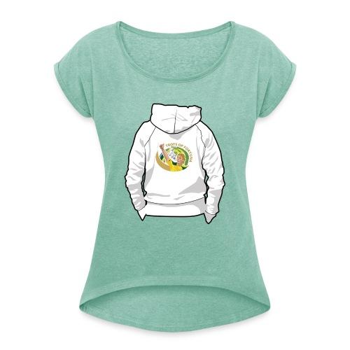 hoodyback - Vrouwen T-shirt met opgerolde mouwen