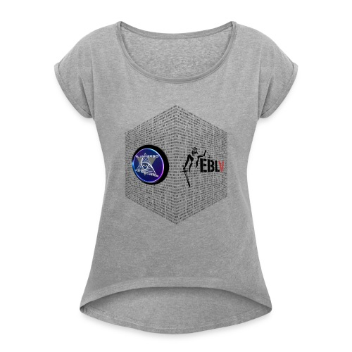 disen o dos canales cubo binario logos delante - Women's T-Shirt with rolled up sleeves