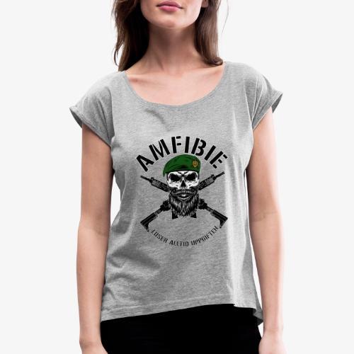 AMFIBIE - Korslagda Ak 5C - T-shirt med upprullade ärmar dam