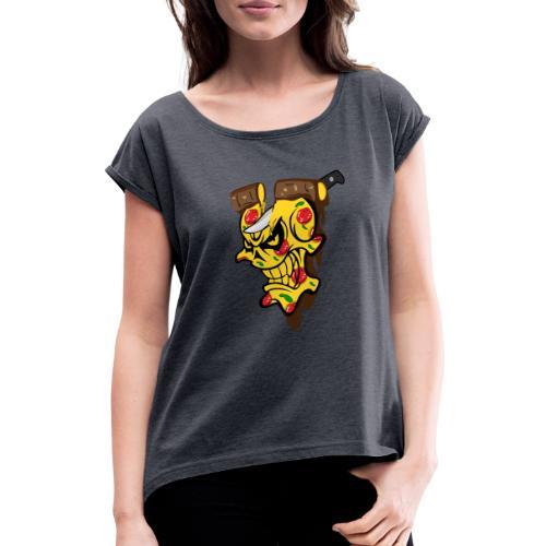 Pizza Schädel mit Messer - Frauen T-Shirt mit gerollten Ärmeln