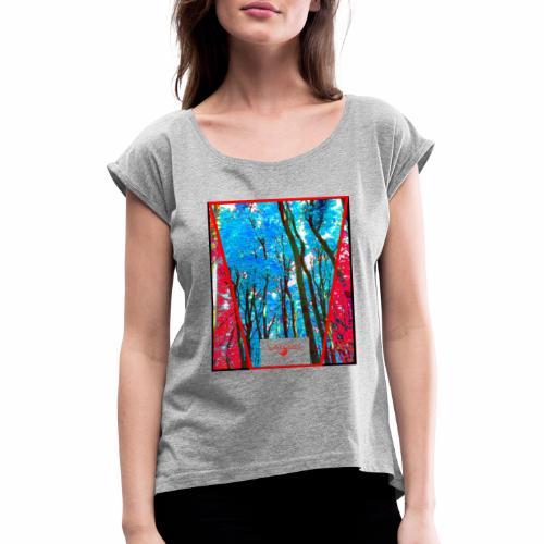 Natur Wald Forest Bäume - Frauen T-Shirt mit gerollten Ärmeln