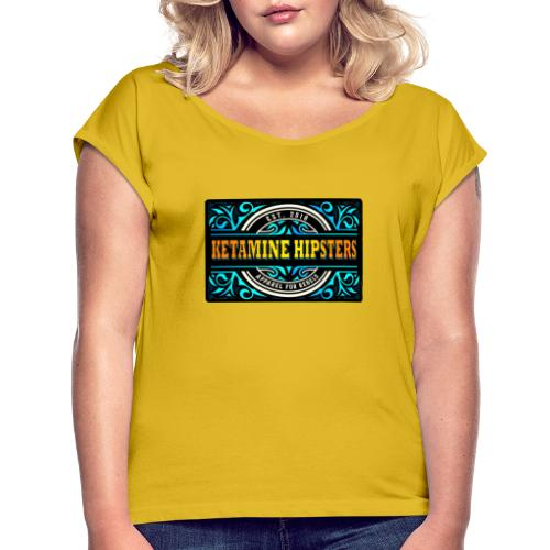 Black Vintage - KETAMINE HIPSTERS Apparel - Women's T-Shirt with rolled up sleeves
