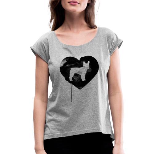 Französische Bulldogge Herz mit Silhouette - Frauen T-Shirt mit gerollten Ärmeln