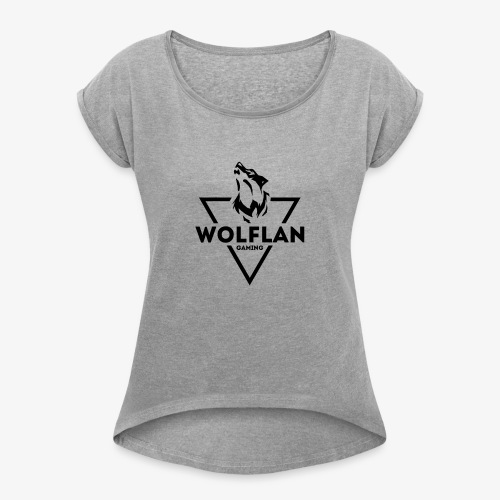 WolfLAN Gaming Logo Black - Women's T-Shirt with rolled up sleeves