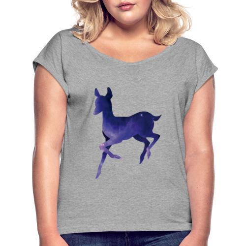 Deer - Camiseta con manga enrollada mujer
