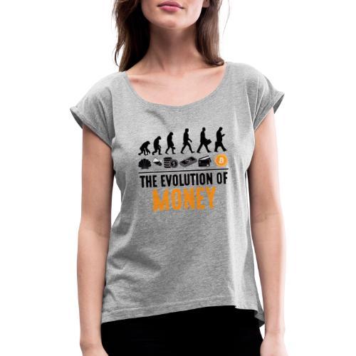 The Evolution of Money - Elon Musk - Camiseta con manga enrollada mujer