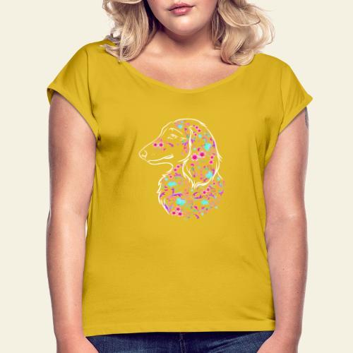 Flower Dachs LH II - Naisten T-paita, jossa rullatut hihat