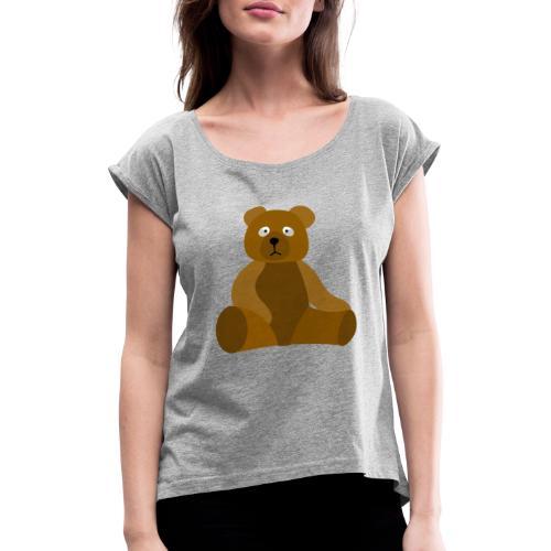 nounours - T-shirt à manches retroussées Femme