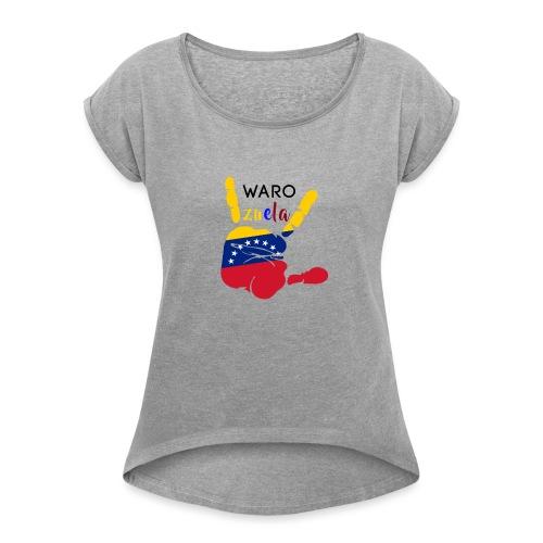 waro - Camiseta con manga enrollada mujer