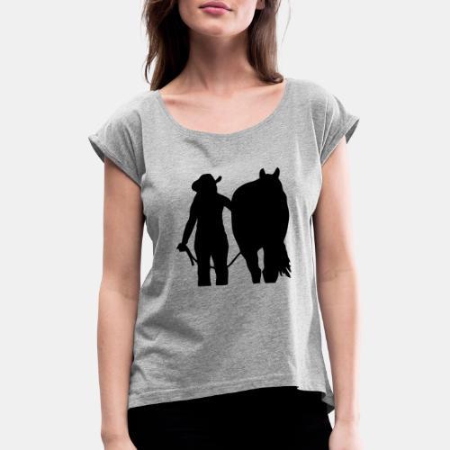Westernreiterin mit Pferd individualisierbar - Frauen T-Shirt mit gerollten Ärmeln