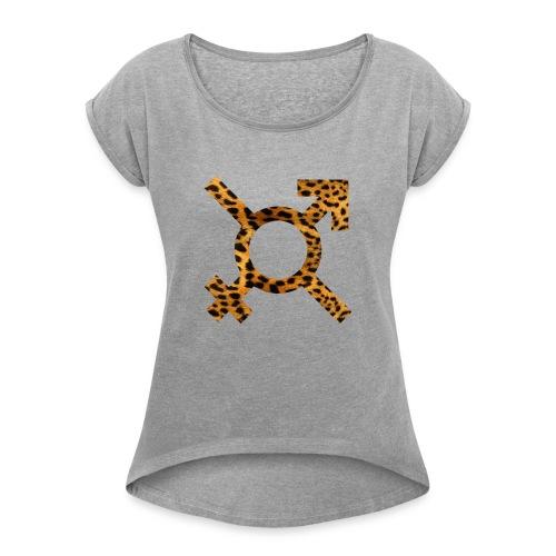 logo annsom leopard - T-shirt à manches retroussées Femme