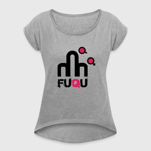 T-shirt FUQU logo colore nero - Maglietta da donna con risvolti