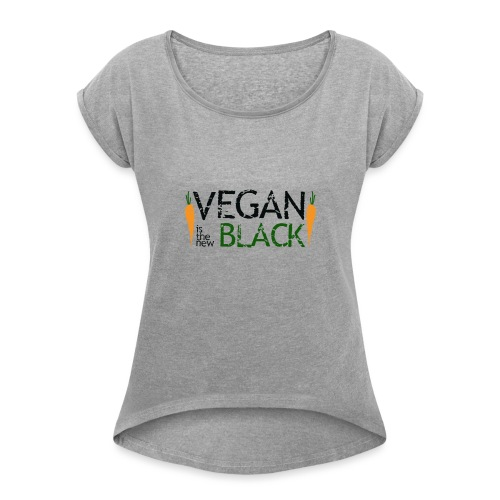 Vegan is the new black - Camiseta con manga enrollada mujer