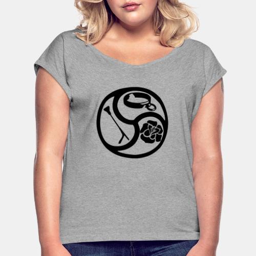 Triskele triskelion BDSM Emblem HiRes 1 color - Frauen T-Shirt mit gerollten Ärmeln