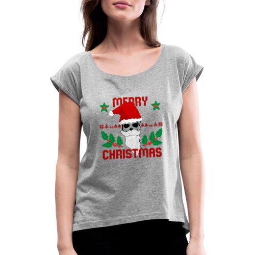 Merry Christmas Skull - Frauen T-Shirt mit gerollten Ärmeln