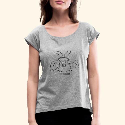 Schafbock: Bock schauen - schwarz - Frauen T-Shirt mit gerollten Ärmeln