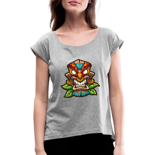 Tiki Mask - Koszulka damska z lekko podwiniętymi rękawami