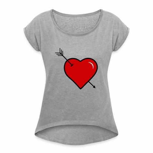 coeur troué par une fléche - T-shirt à manches retroussées Femme