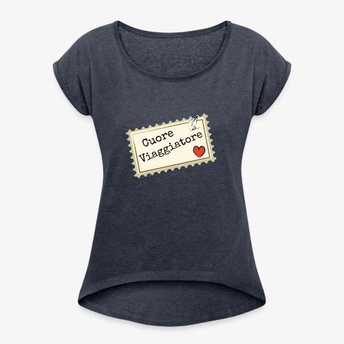 CUORE VIAGGIATORE Scritta con aeroplanino e cuore - Maglietta da donna con risvolti