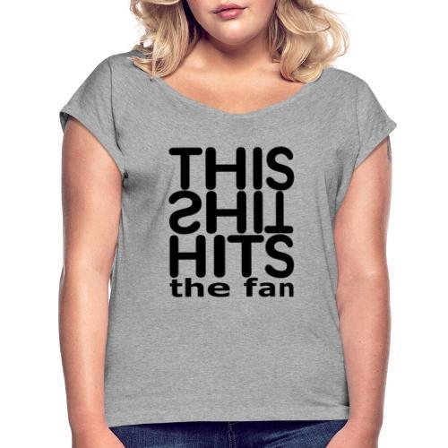 TSHTF BLACK - Camiseta con manga enrollada mujer