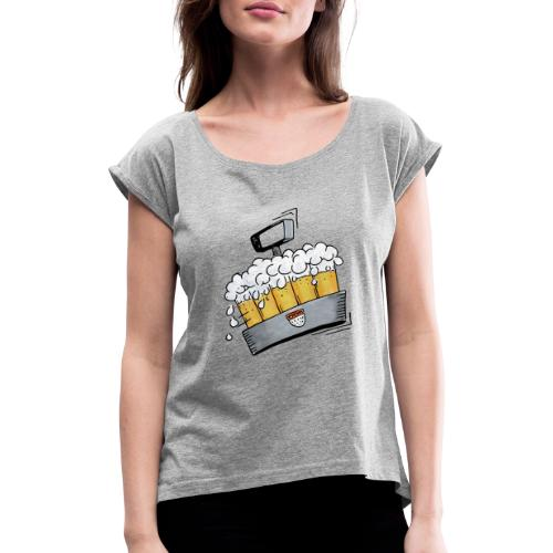 Kölsche Sticker - Kranz.png - Frauen T-Shirt mit gerollten Ärmeln
