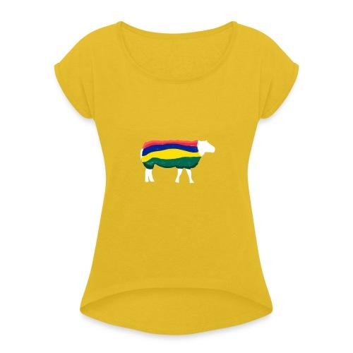 Schaap van Terschelling - Vrouwen T-shirt met opgerolde mouwen
